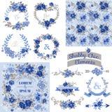 Εκλεκτής ποιότητας Floral σύνολο - πλαίσια, κορδέλλες, υπόβαθρα Στοκ εικόνα με δικαίωμα ελεύθερης χρήσης