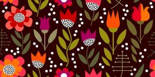 Εκλεκτής ποιότητας floral τυπωμένη ύλη με τα γεωμετρικά στοιχεία Στοκ Εικόνες