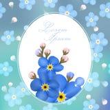 Εκλεκτής ποιότητας Floral Forget-me-not λουλούδι γύρω από το πλαίσιο, Copyspace Στοκ Εικόνες