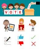 Εκλογές με την ψηφοφορία των συζητήσεων, χέρι που πετούν μια ψηφοφορία, ψηφίζοντας την έννοια στο επίπεδο ύφος Στοκ φωτογραφία με δικαίωμα ελεύθερης χρήσης