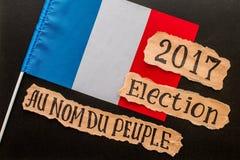 Εκλογή 2017, επιγραφή στο τσαλακωμένο κομμάτι χαρτί στοκ φωτογραφία