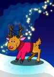 Ελάφια και αστέρια Χριστουγέννων Στοκ Εικόνα