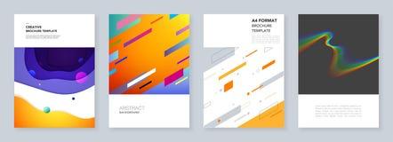 Ελάχιστα πρότυπα φυλλάδιων με τα γεωμετρικά ζωηρόχρωμα σχέδια, κλίσεις, ρευστές μορφές στο minimalistic ύφος πρότυπα ελεύθερη απεικόνιση δικαιώματος
