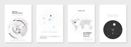 Ελάχιστα πρότυπα φυλλάδιων Στοιχεία Infographic στο άσπρο backgr διανυσματική απεικόνιση