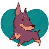 Ελάχιστα χαριτωμένος doberman στο υπόβαθρο της καρδιάς Διανυσματικό illu στοκ εικόνα