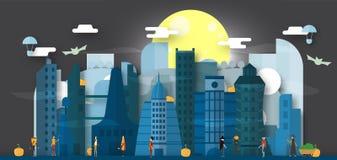 Ελάχιστη σκηνή της μελλοντικής πόλης για την ημέρα αποκριών, στις 31 Οκτωβρίου, με διανυσματική απεικόνιση