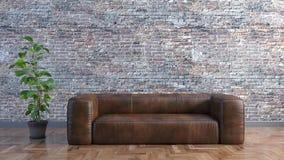 Ελάχιστο καθιστικό με έναν καναπέ δέρματος και έναν παλαιό τουβλότοιχο και μια τρισδιάστατη απεικόνιση εγκαταστάσεων ελεύθερη απεικόνιση δικαιώματος