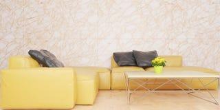 Ελάχιστο καθιστικό με το κίτρινο σύνολο καναπέδων δέρματος και τη μαρμάρινη τρισδιάστατη απεικόνιση τοίχων διανυσματική απεικόνιση