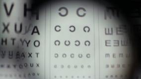 Ελέγχοντας τα μάτια με τον εξοπλισμό οφθαλμολόγων, που δίνει την εξέταση οράματος απόθεμα βίντεο