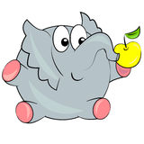 Ελέφαντας κινούμενων σχεδίων που τρώει το μήλο. ζώο Στοκ Φωτογραφίες