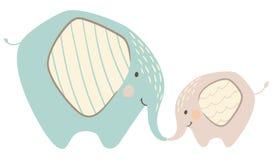 Ελέφαντας mom και χαριτωμένη τυπωμένη ύλη μωρών Γλυκιά ζωική οικογένεια διανυσματική απεικόνιση