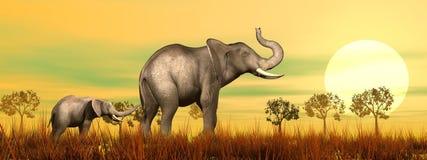 Ελέφαντας mum και μωρό στη σαβάνα - τρισδιάστατη δώστε Στοκ Φωτογραφίες