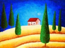 Ελαιογραφία - έναστρος νυχτερινός ουρανός Στοκ φωτογραφία με δικαίωμα ελεύθερης χρήσης