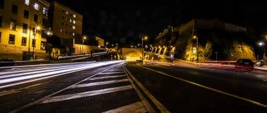 Ελαφριά ίχνη στην οδό στη Ρώμη στοκ εικόνες με δικαίωμα ελεύθερης χρήσης