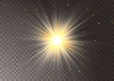 Ελαφριά αστέρια επίδρασης πυράκτωσης Διανυσματικά σπινθηρίσματα στο διαφανές υπόβαθρο Αφηρημένο σχέδιο Χριστουγέννων Λαμπιρίζοντα διανυσματική απεικόνιση