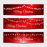 Ελαφριά εμβλήματα γιρλαντών Χριστουγέννων καθορισμένα ελεύθερη απεικόνιση δικαιώματος
