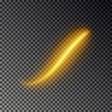 Ελαφριά επίδραση γραμμών, χρυσό διάνυσμα Καμμένος ελαφρύ ίχνος πυρκαγιάς Ακτινοβολήστε μαγική επίδραση ιχνών στροβίλου που απομον ελεύθερη απεικόνιση δικαιώματος