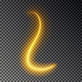Ελαφριά επίδραση γραμμών, χρυσό διάνυσμα Καμμένος ελαφρύ ίχνος πυρκαγιάς Ακτινοβολήστε μαγική επίδραση ιχνών στροβίλου που απομον διανυσματική απεικόνιση