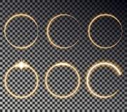 Ελαφριά επίδραση κύκλων πυράκτωσης Στρογγυλό μαγικό κίτρινο πλαίσιο Λάμψτε διάνυσμα κύκλων ελεύθερη απεικόνιση δικαιώματος