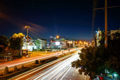 Ελαφριά οδός - πόλη Korat 2016 Nakhon Ratchasima Στοκ εικόνες με δικαίωμα ελεύθερης χρήσης