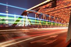 ελαφριά παλαιά ίχνη της Σαγγάης γεφυρών Στοκ Εικόνες