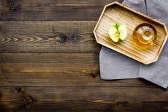 Ελαφριά σάλτσα σαλάτας Ξίδι μηλίτη της Apple στο μπουκάλι μεταξύ των φρέσκων μήλων στο σκοτεινό ξύλινο διάστημα αντιγράφων άποψης Στοκ φωτογραφίες με δικαίωμα ελεύθερης χρήσης