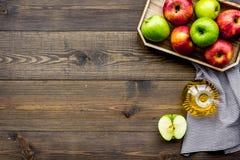 Ελαφριά σάλτσα σαλάτας Ξίδι μηλίτη της Apple στο μπουκάλι μεταξύ των φρέσκων μήλων στο σκοτεινό ξύλινο διάστημα αντιγράφων άποψης Στοκ εικόνες με δικαίωμα ελεύθερης χρήσης