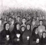ελαφριά Lourdes κεριών επίκληση  Στοκ εικόνα με δικαίωμα ελεύθερης χρήσης