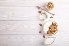Ελαφριοί υδατάνθρακας και πρωτεΐνη - πλούσια ενεργειακών μικτά πρόγευμα καρυδιών και βρωμών granola yougurt όλη την ημέρα vegeter στοκ εικόνες