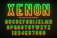 Ελαφρύ αλφάβητο νέου, πολύχρωμη πρόσθετη καμμένος πηγή Στοκ φωτογραφία με δικαίωμα ελεύθερης χρήσης