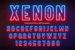 Ελαφρύ αλφάβητο νέου, πολύχρωμη πρόσθετη καμμένος πηγή Στοκ Φωτογραφία