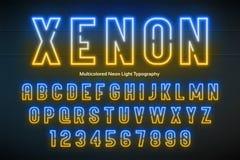 Ελαφρύ αλφάβητο νέου, πολύχρωμη πρόσθετη καμμένος πηγή Στοκ εικόνα με δικαίωμα ελεύθερης χρήσης