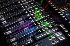 ελαφρύ ζουμ ηχητικών συστημάτων αναμικτών Στοκ Φωτογραφία