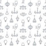 Ελαφρύ προσάρτημα, άνευ ραφής σχέδιο λαμπτήρων, απεικόνιση γραμμών Στοκ εικόνα με δικαίωμα ελεύθερης χρήσης