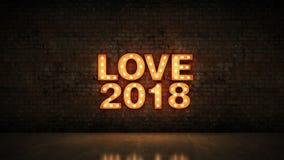 Ελαφρύ σημάδι επιστολών αγάπης 2018 σκηνών, νέο έτος 2018 τρισδιάστατη απόδοση ελεύθερη απεικόνιση δικαιώματος