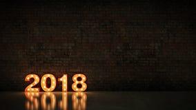 Ελαφρύ 2018 σημάδι επιστολών σκηνών, νέο έτος 2018 τρισδιάστατη απόδοση απεικόνιση αποθεμάτων