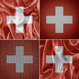 Ελβετικές σημαίες υφάσματος Στοκ Φωτογραφίες