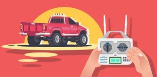Ελεγχόμενο το ραδιόφωνο αυτοκίνητο, μηχανή, RC, εκπέμπει σήμα το ελεγχόμενο σχέδιο παιχνιδιών απεικόνιση αποθεμάτων