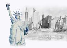Ελευθερία αγαλμάτων στο Μανχάταν αστικό υψηλό watercolor ποιοτικής ανίχνευσης ζωγραφικής διορθώσεων πλίθας photoshop πολύ απεικόνιση αποθεμάτων
