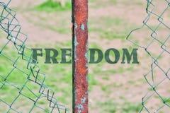 Ελευθερία και φράκτης λέξης στοκ εικόνες