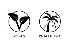 Ελεύθερα εικονίδια Vegan και φοινικέλαιου Στοκ εικόνα με δικαίωμα ελεύθερης χρήσης