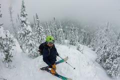 Ελεύθερη στάση ατόμων splitboard στην κορυφή της κορυφογραμμής Να περιοδεύσει σκι στα βουνά, ακραίος αθλητισμός χειμερινού freeri στοκ φωτογραφία