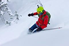 Ελεύθεροι γύροι σκιέρ από το χιόνι σκονών στο υπόβαθρο του δάσους και των βουνών Στοκ Εικόνες