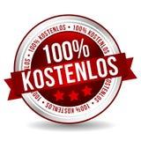 100% ελεύθερο διακριτικό - γερμανικός-μετάφραση: kostenlos 100% στοκ εικόνες με δικαίωμα ελεύθερης χρήσης