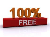 ελεύθερο σημάδι 100% Στοκ Εικόνα