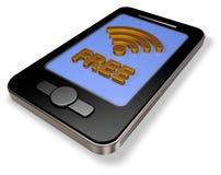 Ελεύθερο σύμβολο wifi στην επίδειξη smartphone Στοκ Εικόνα