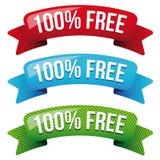 Ελεύθερο σύνολο κορδελλών εκατό τοις εκατό ελεύθερη απεικόνιση δικαιώματος