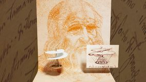 Ελικόπτερο Leonardo Da Vinci με την αυτοπροσωπογραφία του ελεύθερη απεικόνιση δικαιώματος
