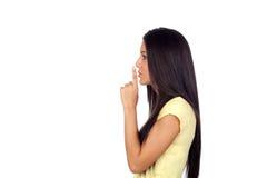 Ελκυστική γυναίκα κοριτσιών brunette για τη σιωπή Στοκ φωτογραφία με δικαίωμα ελεύθερης χρήσης
