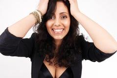 ελκυστική γυναίκα πορτ&rho στοκ φωτογραφίες